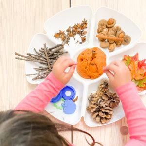 fall invitation to create playdough tray