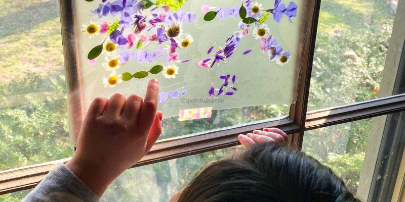 Spring craft for kids sun catcher window art 春天